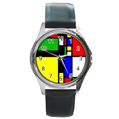 Abstrakt Round Leather Watch (silver Rim)