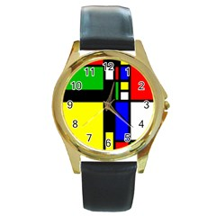 Abstrakt Round Leather Watch (gold Rim)