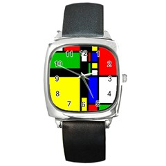 Abstrakt Square Leather Watch