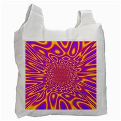 Psycedelic Warp White Reusable Bag (two Sides)