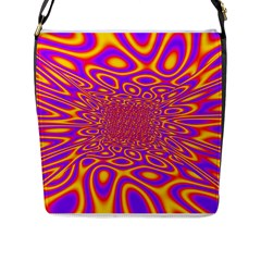 Psycedelic Warp Flap Closure Messenger Bag (Large)