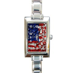 American Flag Blocks Rectangular Italian Charm Watch