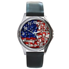 American Flag Blocks Round Leather Watch (silver Rim)