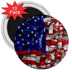 American Flag Blocks 3  Button Magnet (10 Pack)