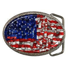American Flag Blocks Belt Buckle (Oval)
