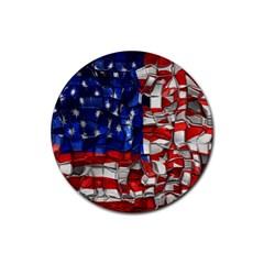 American Flag Blocks Drink Coasters 4 Pack (Round)