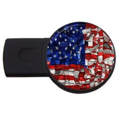 American Flag Blocks 2gb Usb Flash Drive (round)