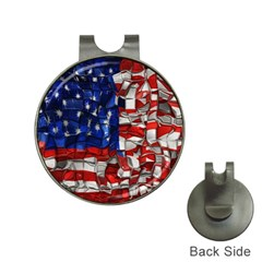 American Flag Blocks Hat Clip With Golf Ball Marker