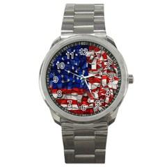 American Flag Blocks Sport Metal Watch