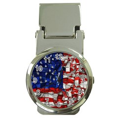 American Flag Blocks Money Clip With Watch