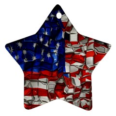American Flag Blocks Star Ornament (Two Sides)