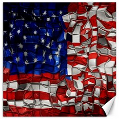 American Flag Blocks Canvas 20  x 20  (Unframed)