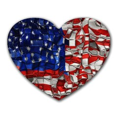 American Flag Blocks Mouse Pad (heart)
