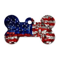 American Flag Blocks Dog Tag Bone (one Sided)