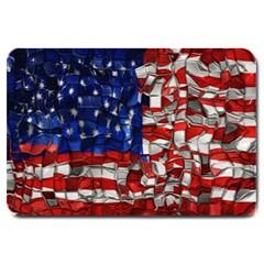 American Flag Blocks Large Door Mat