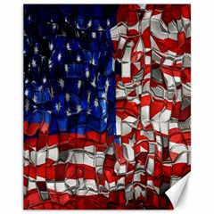 American Flag Blocks Canvas 11  x 14  (Unframed)