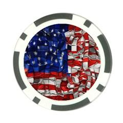 American Flag Blocks Poker Chip