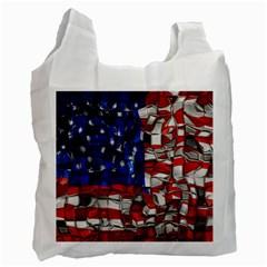American Flag Blocks White Reusable Bag (one Side)