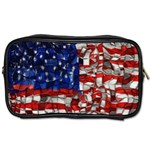 American Flag Blocks Travel Toiletry Bag (Two Sides) Front