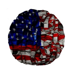 American Flag Blocks 15  Premium Round Cushion