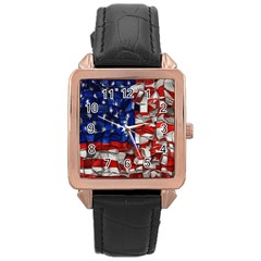 American Flag Blocks Rose Gold Leather Watch