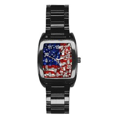 American Flag Blocks Stainless Steel Barrel Watch