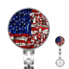 American Flag Blocks Stainless Steel Nurses Watch