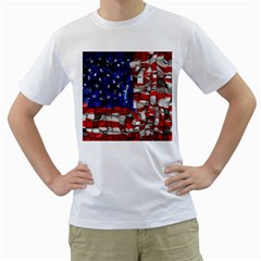 American Flag Blocks Men s T Shirt (white)