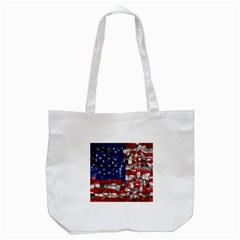 American Flag Blocks Tote Bag (White)