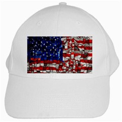 American Flag Blocks White Baseball Cap