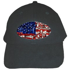 American Flag Blocks Black Baseball Cap