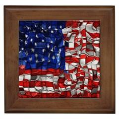 American Flag Blocks Framed Ceramic Tile