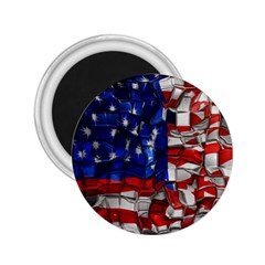 American Flag Blocks 2 25  Button Magnet