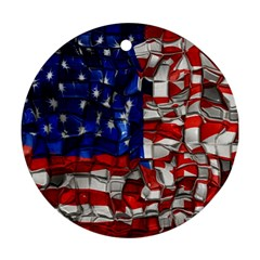 American Flag Blocks Round Ornament