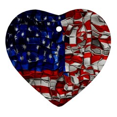 American Flag Blocks Heart Ornament