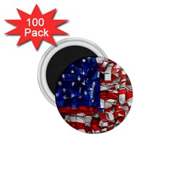 American Flag Blocks 1 75  Button Magnet (100 Pack)