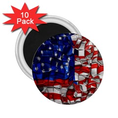 American Flag Blocks 2.25  Button Magnet (10 pack)