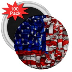 American Flag Blocks 3  Button Magnet (100 Pack)
