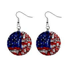 American Flag Blocks Mini Button Earrings