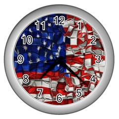 American Flag Blocks Wall Clock (Silver)