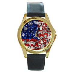 American Flag Blocks Round Leather Watch (Gold Rim)
