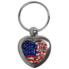 American Flag Blocks Key Chain (Heart)