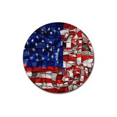 American Flag Blocks Magnet 3  (round)