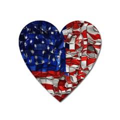 American Flag Blocks Magnet (heart)