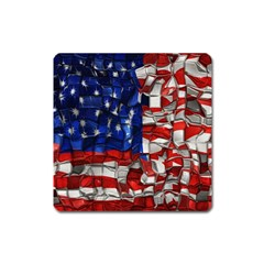American Flag Blocks Magnet (square)