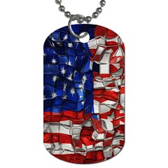 American Flag Blocks Dog Tag (One Sided)