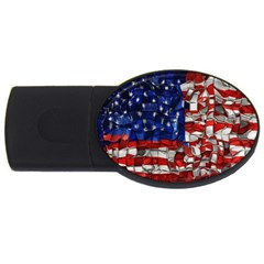 American Flag Blocks 2gb Usb Flash Drive (oval)