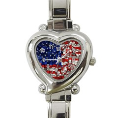 American Flag Blocks Heart Italian Charm Watch