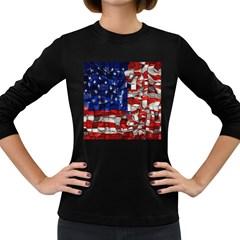 American Flag Blocks Women s Long Sleeve T-shirt (Dark Colored)