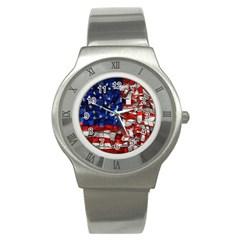 American Flag Blocks Stainless Steel Watch (slim)